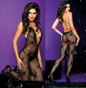 LACE BODYSTOCKING Floral & Dot Lace w/Open Crotch & DEEP-V, Criss-Cross Back OS