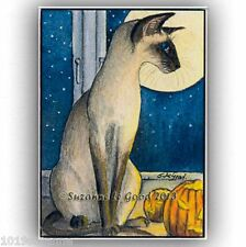 ACEO LTD ED SIAMESE CAT HALLOWEEN PAINTING PRINT FROM ORIGINAL SUZANNE LE GOOD