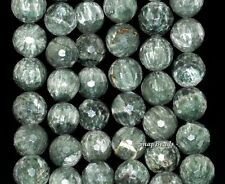 """14MM RUSSIAN SERAPHINITE GEMSTONE AA GREEN FACETED ROUND LOOSE BEADS 15.5"""""""