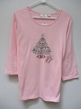 QUACKER FACTORY Pink Spectacular Embellished Holiday T-Shirt M