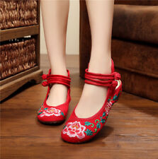 Vintage Style Lao Beijing Chic Red Floral Embroidery Flats Ladies Shoes EU 39