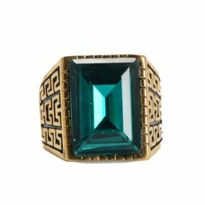 Mens Gold Stainless Steel Red Green White Blue Square Crystal Stone Ring Jewelry