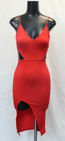 Boohoo Women's Cut Out Detail Thigh Split Midi Dress TM8 Red Size US:2 UK:6 NWT