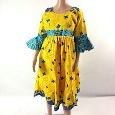 Womens Dress African Print Ankara Pleated Scoop Neck Yellow Blue Flared Sleeve M