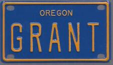 GRANT Blue Oregon - Mini License Plate - Name Tag - Bicycle Plate!