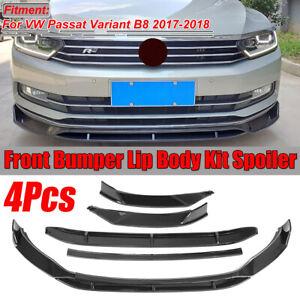 Per VW Passat Variant B8 2017 2018 Carbon Fiber Look Front Bumper Lip Cover  !