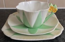 SHELLEY PRIMULA GREEN STAR 11993 pattern porcelain CUP SAUCER PLATE TRIO 3 avail