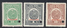 Peru 1940's, 50c,1s,10s revenues, American Bank Note Co. SPECIMEN overprint