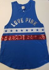 NWT Victoria's Secret PINK Small Tank Top Shirt Sequins BLING Tee Blue Red White