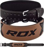 "RDX Weight Lifting 4"" Leather Gym Belt Black Support Training BodyBuilding AU"