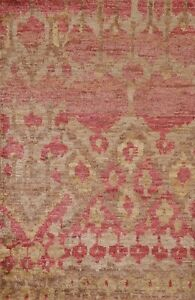 Geometric Moroccan Tribal Oriental Area Rug Hand-knotted Foyer Carpet 4x6 ft