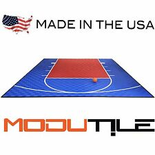 20ft x 24ft Outdoor Basketball Half Court Kit -Lines and Edges Included-Blue/Red