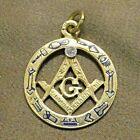 "14k Solid Yellow Gold Masonic Charm Pendant 1"""