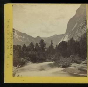 1865-66 Stereoview Carleton Watkins Mount Starr King, Yosemite Valley, Mariposa