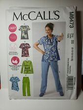Sewing Pattern Plus Size Womens Scrubs Top Pants Sz 8 10 12 14 16 McCalls 6473