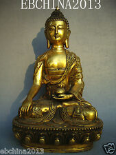"11""Chinese culture old antique collection pure bronze sitting buddha statue"