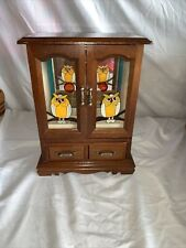 Vintage Musical Wood Jewelry Box Armoire Faux Stain Glass Owl Doors Lara's Theme