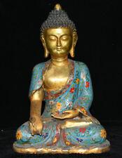 """12"""" Marked Old Tibet Cloisonne Enamel Copper Shakyamuni Amitabha Buddha Statue"""