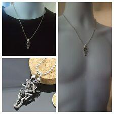 USA-Men Infinity Tibet Silver Black Stainless Steel Skull Pendant Chain Necklace