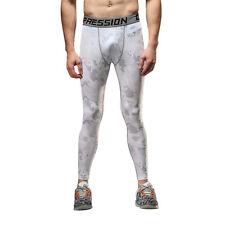 US Men Boy Joggers Gym Compression Pants High Elastic Tights Camo Pants Sports