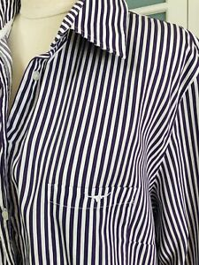 🌿 RM Williams Size 18 Womens Semi-Fitted Purple & White Stripe L/Sleeve Shirt
