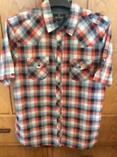 Buffalo David Bitton Mens Short Sleeve Shirt Blue/Orange Plaid Snap Large
