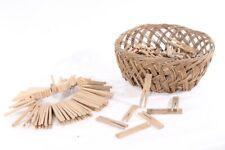 Vieux Pinces à Linge Crochet Tempête en Bois Incluant Panier Petit Panier