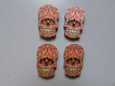 En bois Crâne Sucré Calaveras Boutons X 4 Couture/Costume/Loisirs créatifs/