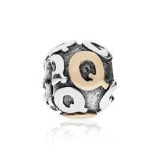 Genuine PANDORA Letter Q, Silver & 14ct Gold Charm 790298Q - RRP £95