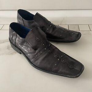 Mark Nason Rock Never Dies Studded Leather Black Loafers Slip On Shoes Men 9