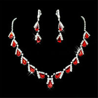 Xmas Gift TearDrop Red Ruby Austrian Crystal Elements Earrings Necklace Sets