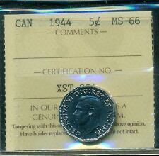1944 Canada King George VI, 5 Cent Piece, ICCS Certified MS-66