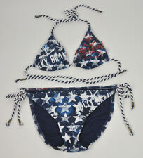 LUCKY BRAND Nautical STARS Stripes STRING Bikini HALTER Top SWIM SUIT Tie Sz S