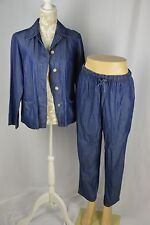 French Laundry Women Small Medium Blue Thin Denim Crop Jean Pant Suit Set Casual