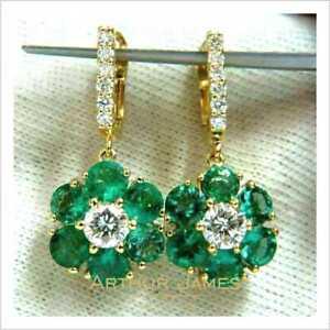 Flower Drop & Dangle 4Ct Round Green Emerald Diamond Earrings Yellow Gold Finish
