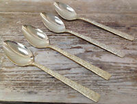 Gold Electroplate Stainless Lifetime Cutlery 4 Teaspoons Tea Spoons Modern Trend