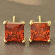 Beautiful 9K Yellow Gold Filled Ruby Red Crystal CZ Square Stud Post Earrings