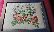 Completed Needlepoint WONDERFUL BIRDS AND FLORALS LARGE PICTURE