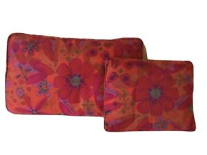 "2 Orange & Red Floral Mid Century Modern Sofa/Down Filled Pillows 24X16""& 16X12"""