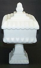 JEANETTE GLASS WEDDING CAKE CANDY DISH OR COMPOTE, MILK GLASS,