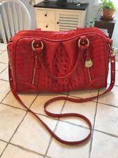 Brahmin  Dome Carmine Red Alligator Reptile Leather Satchel Bag ~RARE~ Mint