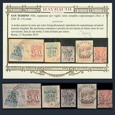 Repubblica S San Marino 1924 Segnatasse Vaglia n. 1/6 Certificato Raybaudi Usati