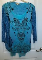 Women's Blouse Turquoise, Black, Blue Handkerchief Hem Tunic Size Medium L&L