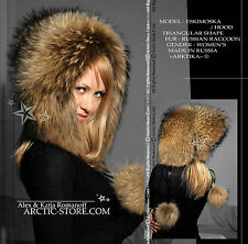 Russian raccoon fur eskimo Eskimoska hat hood winter Fashion shapka chapka NEW