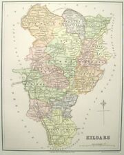 "Irish Map County KILDARE Curragh Ireland Limerick Thomas Kelly 1882 6.75"" x 8.5"""