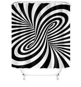 Optical illusion Bathroom Rug Set Shower Curtain Soft Bath Mat Toilet Lid Cover