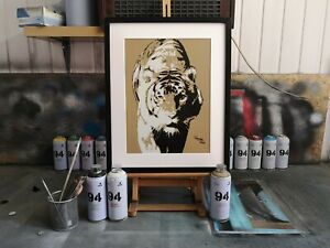 Handmade tiger spray painting by can to canvas, framed 53x43cm