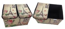 Storage Box with Lid Upholstered Paris Rome England London Box