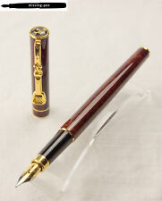 Older Diplomat Fountain Pen Tobacco Brown Marble with horseman clip and M-nib