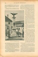 Monument Bataille Ebelsberg Maréchal Lannes Bataille Essling GRAVURE PRINT 1909